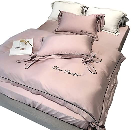 Bedding 100 Pure Cotton 4 Piece Complete Bed Set Includes X1 Quilt Cover X2 Pillowcases And X1 Fitted Sheet Pink Duvet Pink Duvet Cover Beautiful Bedding Bed