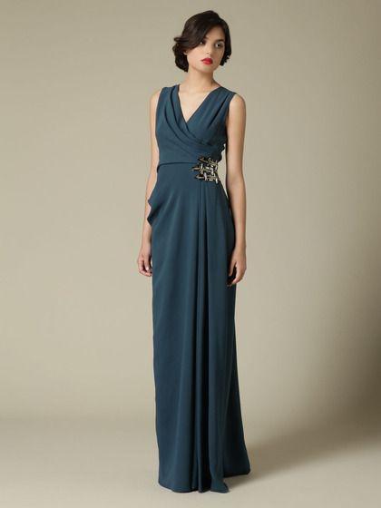 J. Mendel - Silk Soft Draped Gown in Peacock Blue: