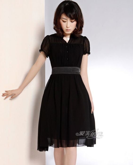 thin V-neck long-sleeved chiffon dress