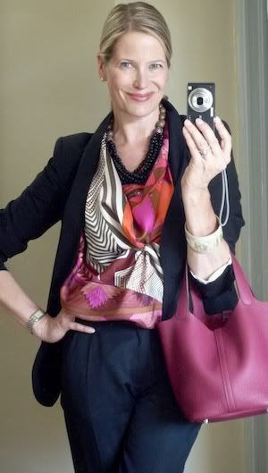 'Coupons Indiens' Hermes scarf as a halter top with a black suit