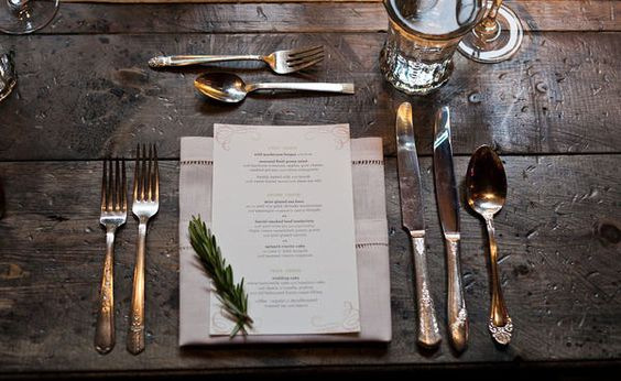 Simple place setting for buffet weddings - substitute rosemary for lavender or another flower used in centerpieces