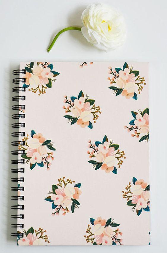 First Snow Notebook/Journal Blush Floral von firstsnowfall auf Etsy
