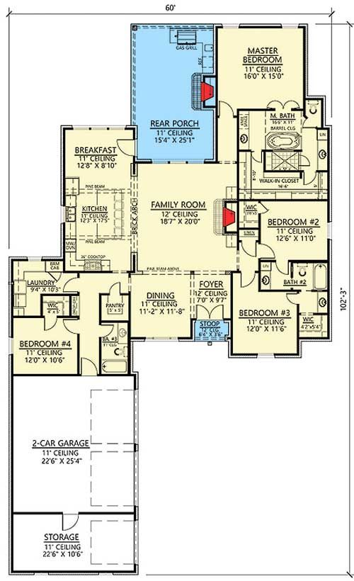 Plan 56405sm open concept 4 bed acadian house plan for French country house plans open floor plan