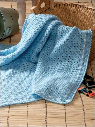 Free Knitting Pattern Dog Blanket : Boy Wrapper Crochet Baby Afghan Pattern - This super-simple crochet baby blan...