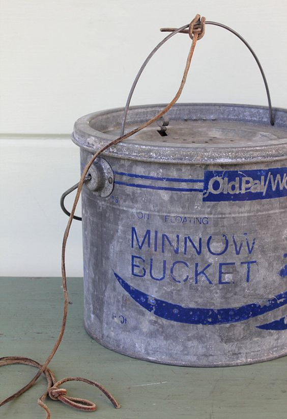 Vintage Minnow Bucket Quot Old Pal Quot From Wood Stream Corp