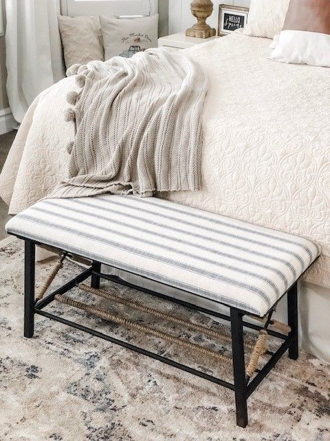 Place A Rustic Bench At The Foot Of Your Bed For A Modern Look Tap To See More Benches Like City Girl Meets Farmboy S Trending Decor Home Decor Bright Decor