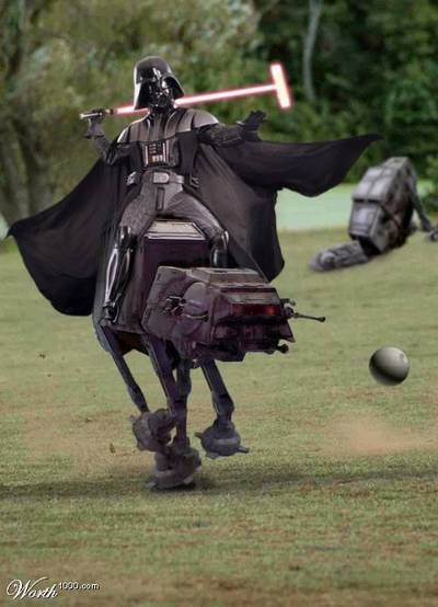 Lord Vader plays polo with a tiny Death Star, from the back of an AT-AT, using a lightmallet.