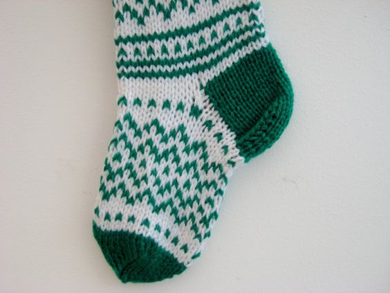 SALE - 50% OFF !!! Hand knit Ornament Christmas Stocking - Green and White Christmas Stocking - Christmas decoration - Gift - Ready To Ship!