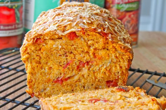 Organic Fire Roasted Tomato Cheese Bread from The BakerMama.