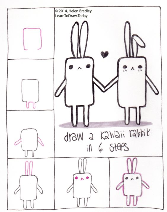 Learn to draw a kawaii bunny in 6 steps drawing step by for How to draw doodles step by step