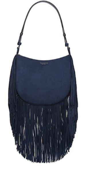 cute navy fringe hobo
