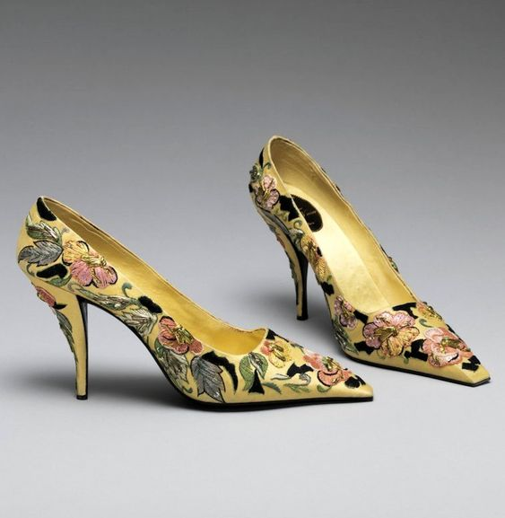 Roger Vivier - 1957 - Vivier worked with master embroiderer, Rebe, to create these needle heel shoes - The Metropolitan Museum of Art