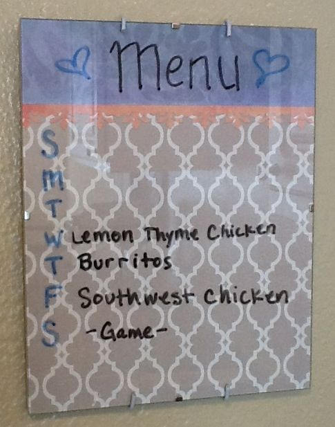 frameless picture frame with a cute background menu planner or just a cute dry erase