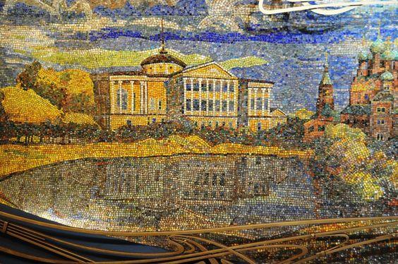 """Московское метро - мозаики станции """"Марьина роща"""" - Счастье быть с этими людьми"""