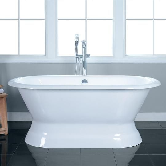 60 Pattison Cast Iron Double Ended Roll Top Tub With Pedestal