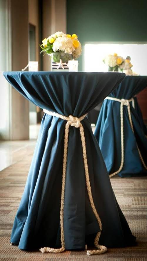 Cocktail tables with cinched linens for your wedding for Wedding reception table linen ideas