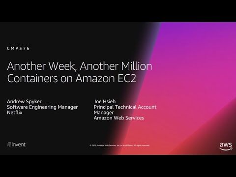 Aws Re Invent 2018 Another Week Another Million Containers On Amazon Ec2 Cmp376 Youtube Software Engineer Machine Learning Inventions