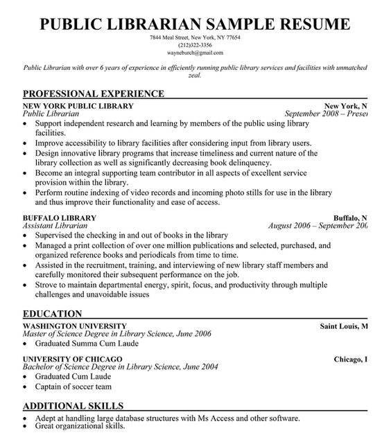 Public #Librarian Resume Sample (resumecompanion) RESUMES - librarian resumes