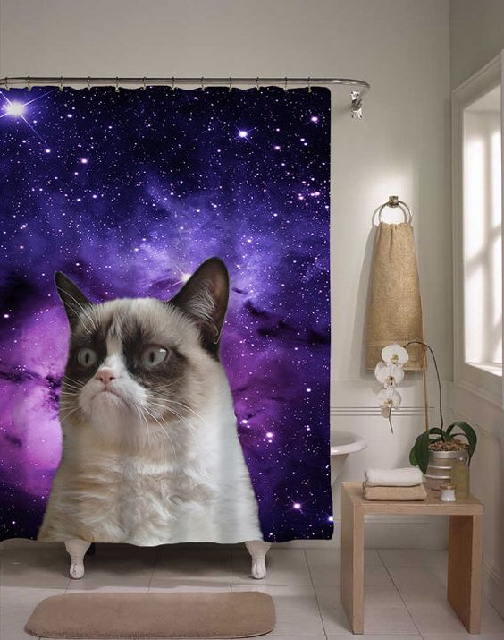 Grumpy Cat Shower Curtain, Epic Cat In Space, Home Decor, Funny ...