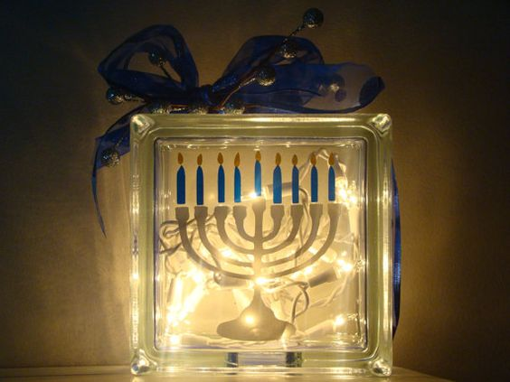 Glass block menorah light up decoration...believe it or not, you can make these yourself with a ...