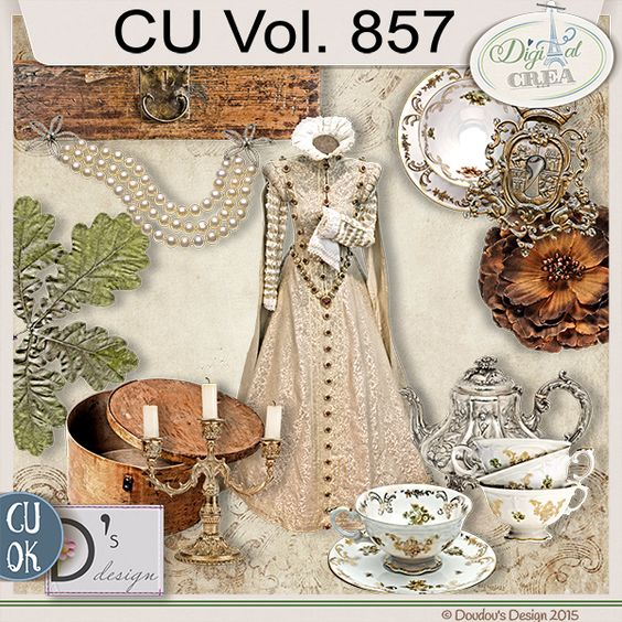 CU Vol. 857 {Vintage/Victorian}by Doudou's Design Description:  This set contents 12 elements created and/or photographed and/or extracted by myself.  Shadows only on preview