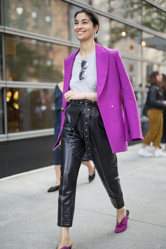 While fashion girls are still wearing leather pants, they're also trying out this season's vinyl versions. See how to style both, and shop our favorites.