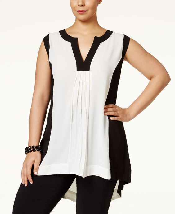 Melissa McCarthy Seven7 Plus Size Sleeveless Colorblocked Top