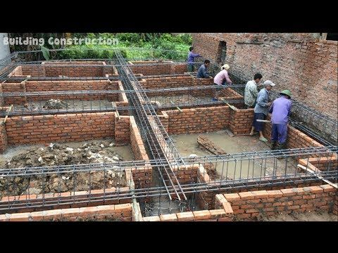 How To Build And Install Iron Bars For House Foundation Beams Traditio House Foundation Village House Design Building Foundation