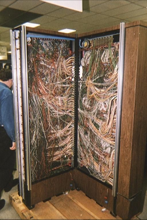 """""""Spaghetti Junction"""" - wiring in an early main frame Computer. circa 1969.    Sure glad wireless came along.  I can barely keep my computer power cords organized."""