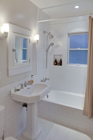 Traditional 3/4 Bathroom with Handheld showerhead, Flush, Glass panel, Pedestal sink, tiled wall showerbath, Wall sconce