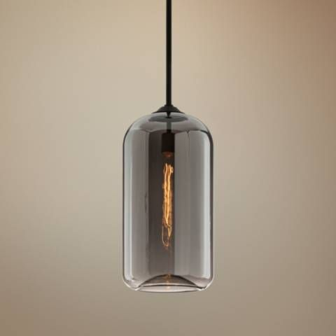 A Rounded Smoke Glass Shade And Satin Black Finish Define The