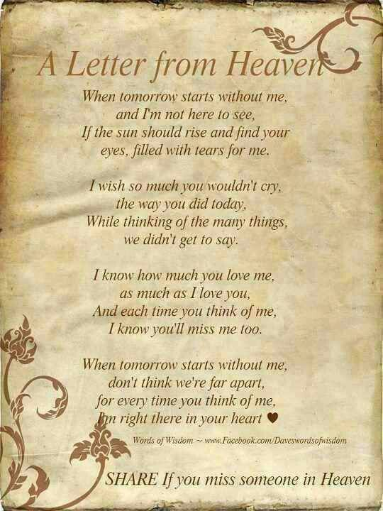 a letter from heaven poem | inspirational quotes | pinterest