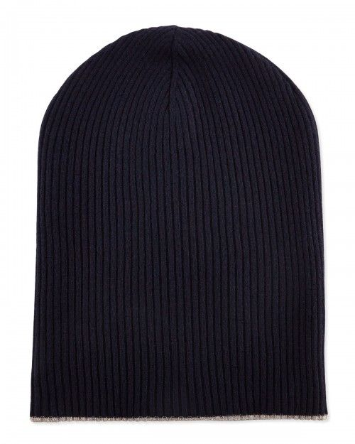Brunello Cucinelli Cashmere Ribbed Hat W Foldover Brim Navy Oatmeal Navy | Headwear and Accessory
