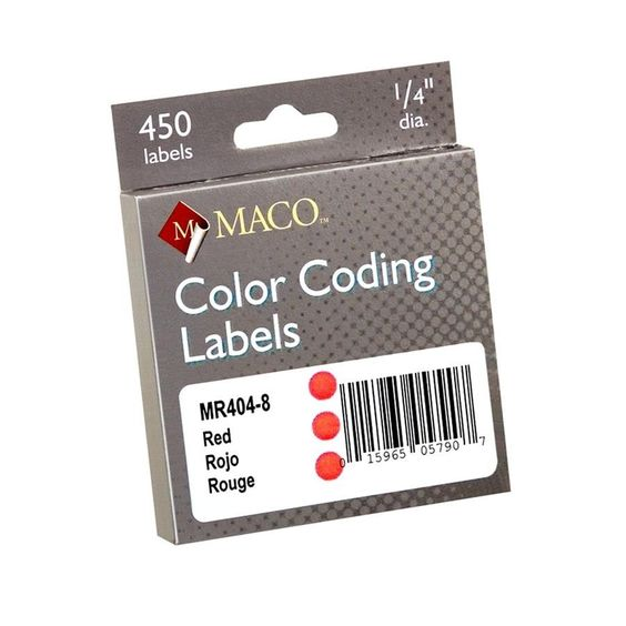 """Color Coded Labels, Perm Adhesive, 1/4"""" Diameter, Red (Set of 3)"""