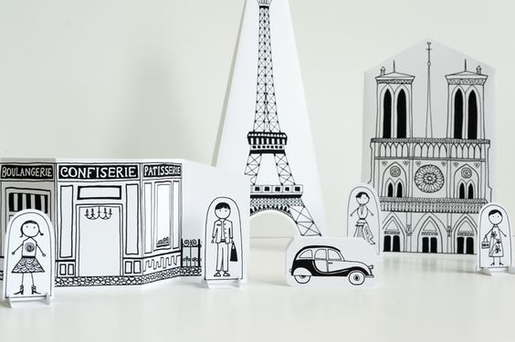Free printable for a make-your-own Paris city. Leave as is, or color it in.