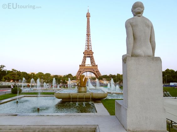At the base of Palais Chaillot there are two statues separating the Jardin du Trocadero Gardens from the Palais Chaillot, providing a great view with the Eiffel Tower in the background.  See more Paris Photos at http://www.eutouring.com/