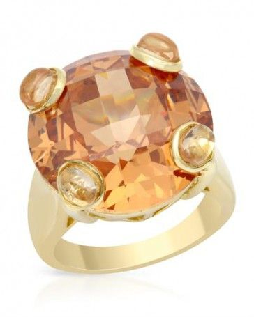 Cubic Zirconia Ring By Designer P&P Silver 49.25 ctw
