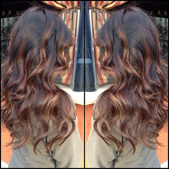 ShareIG Dark brown base with light chocolate brown balayage highlights. Instagram photo by @