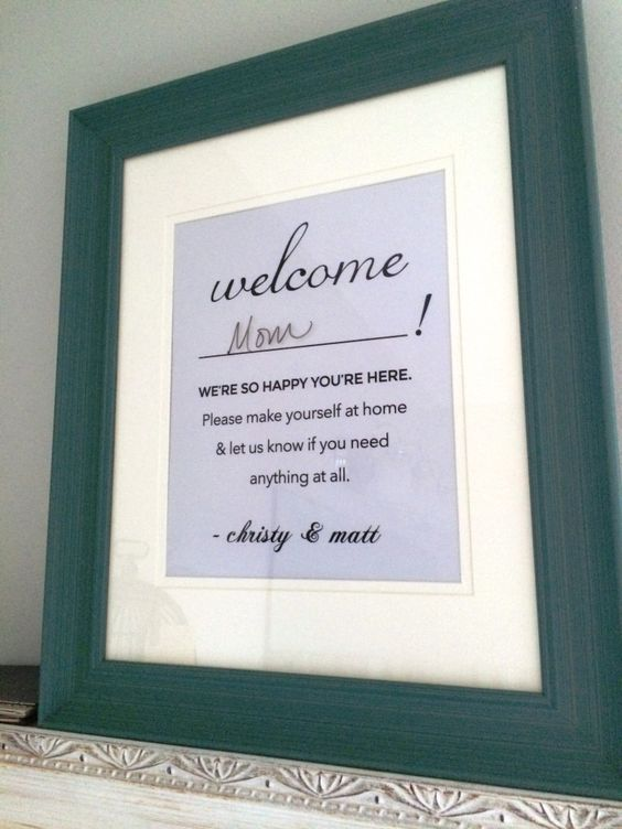 Cute Idea for a Guest Bedroom or Bathroom! Customized note for guests as art.  House ...