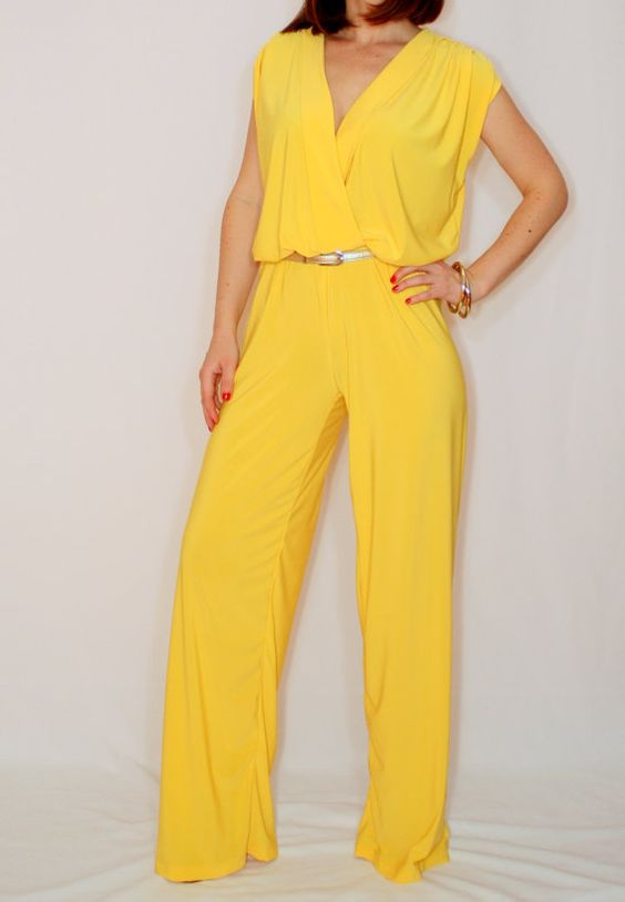 Yellow jumpsuit Sleeveless jumpsuits women Wrap top | Yellow ...
