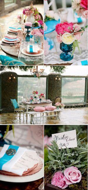 pink & blue: English Garden Weddings, Wedding Ideas, Blue Pink, Pink Weddings, Turquoise Pink, Color Palette, Turquoise Weddings, Blue Wedding