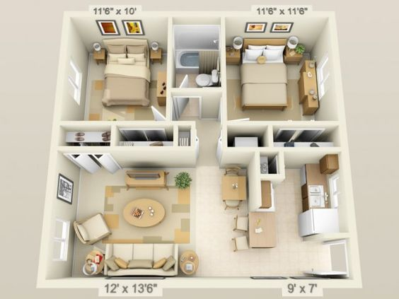 D Floor Plan image for the Bedroom/ Bath of Property Fox Hollow Apartments Architecture & Plans Pinterest Apartments, and Fox?