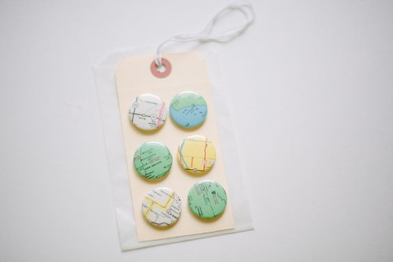 Scrapbooking map set of six badges/ flair buttons. $5.00, via Etsy.