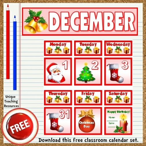 set to display on your bulletin board. These free calendar pieces ...