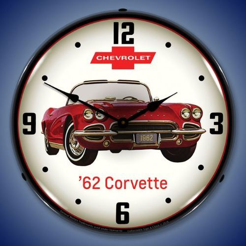 1962 Corvette Led Lighted Wall Clock 14 X 14 Inches Corvette Clock Wall Clock Light 1962 Corvette