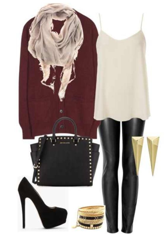 Winter outfit party outfit night out outfit leather leggings gold studs maroon cardigan scarf ...