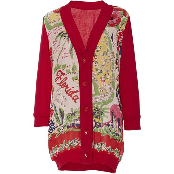 Anna Sui     Florida Land of Sunshine Cardigan (1.255 BRL) ❤ liked on Polyvore featuring tops, cardigans, red, deep v neck top, anna sui, red top, low v neck top and open front cardigan