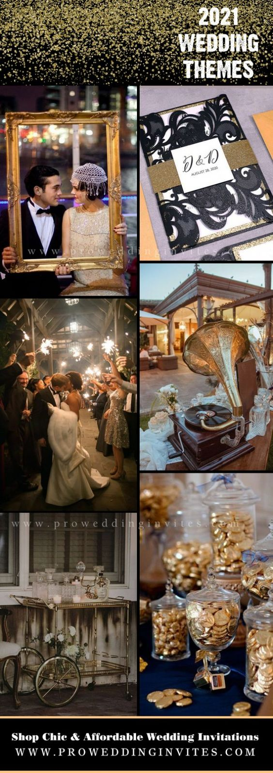Moonlight-themed Luxury celestial black and gold wedding Invitations
