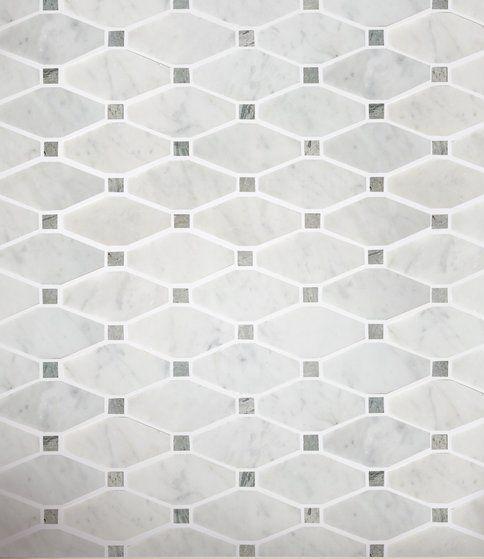 Carrara Bianco And Grey Marble Mosaic Tile Elongated Octagons Polished Marble Mosaic Tiles Marble Mosaic Mosaic Tiles