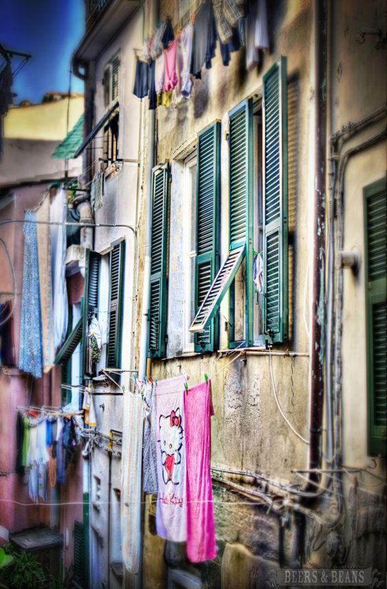 Windows in Cinque Terre, Italy.